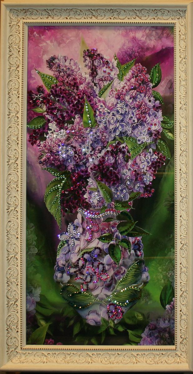 1488 Картина Сваровски Сирень1488стекло, хрусталь, алюминий. 36х69