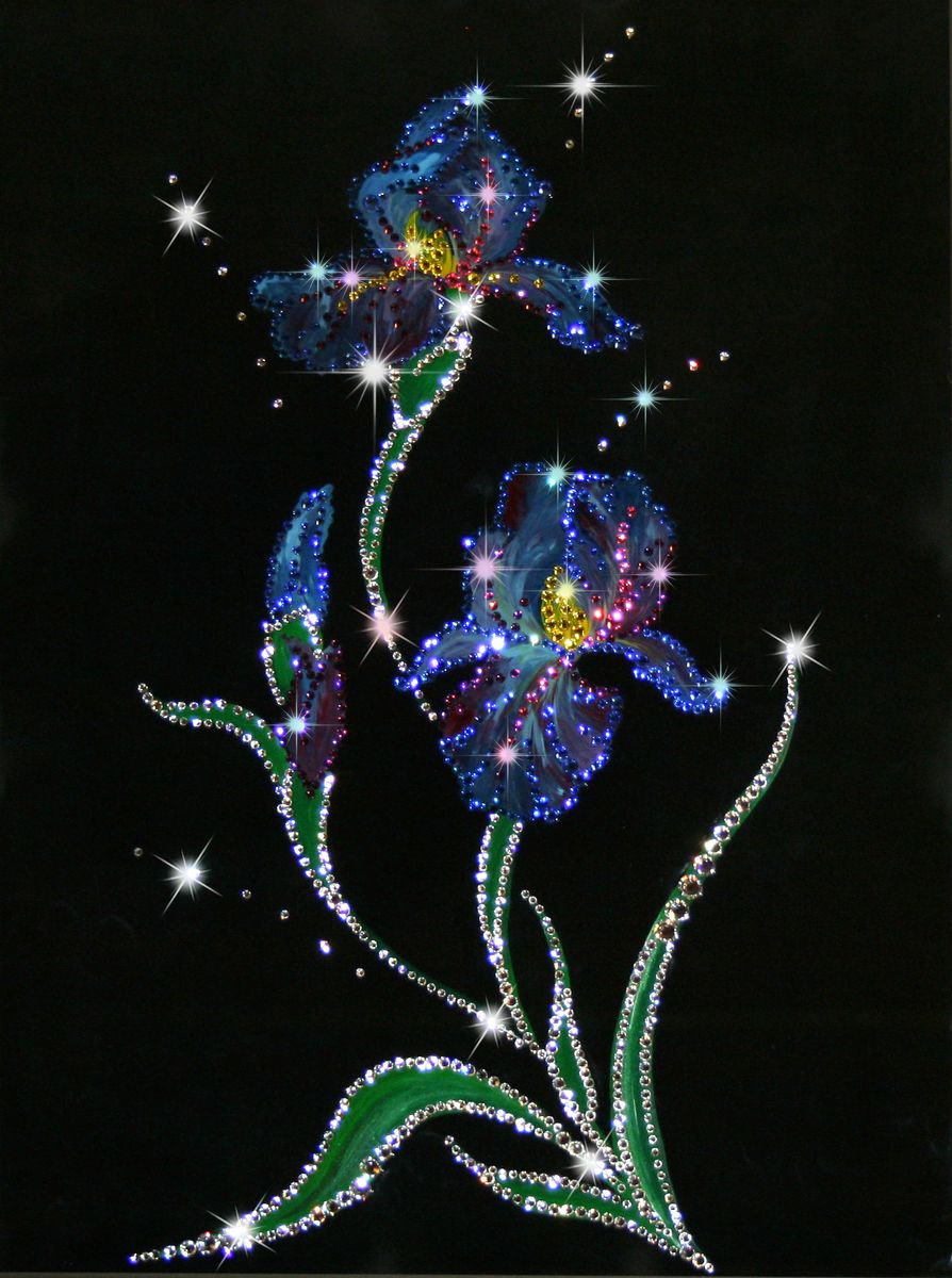 1164 Картина Сваровски Ирисы1164стекло, хрусталь, алюминий. 30х40