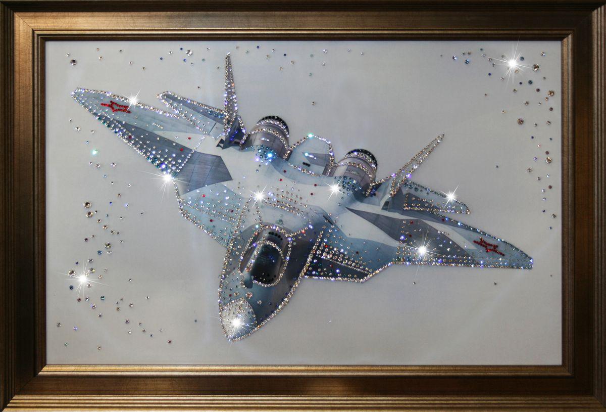 1168 Картина Сваровски Истребитель в небе1168стекло, хрусталь, пластик. 70х50