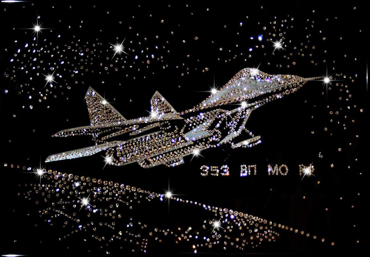 1169 Картина Сваровски Истребитель СУ-271169стекло, хрусталь, алюминий. 70х50
