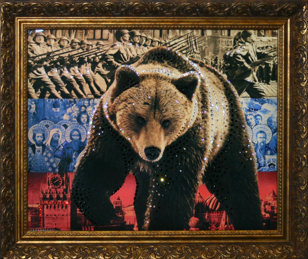 1210 Картина Сваровски Медведь-Символ России1210стекло, хрусталь, пластик. 80х60