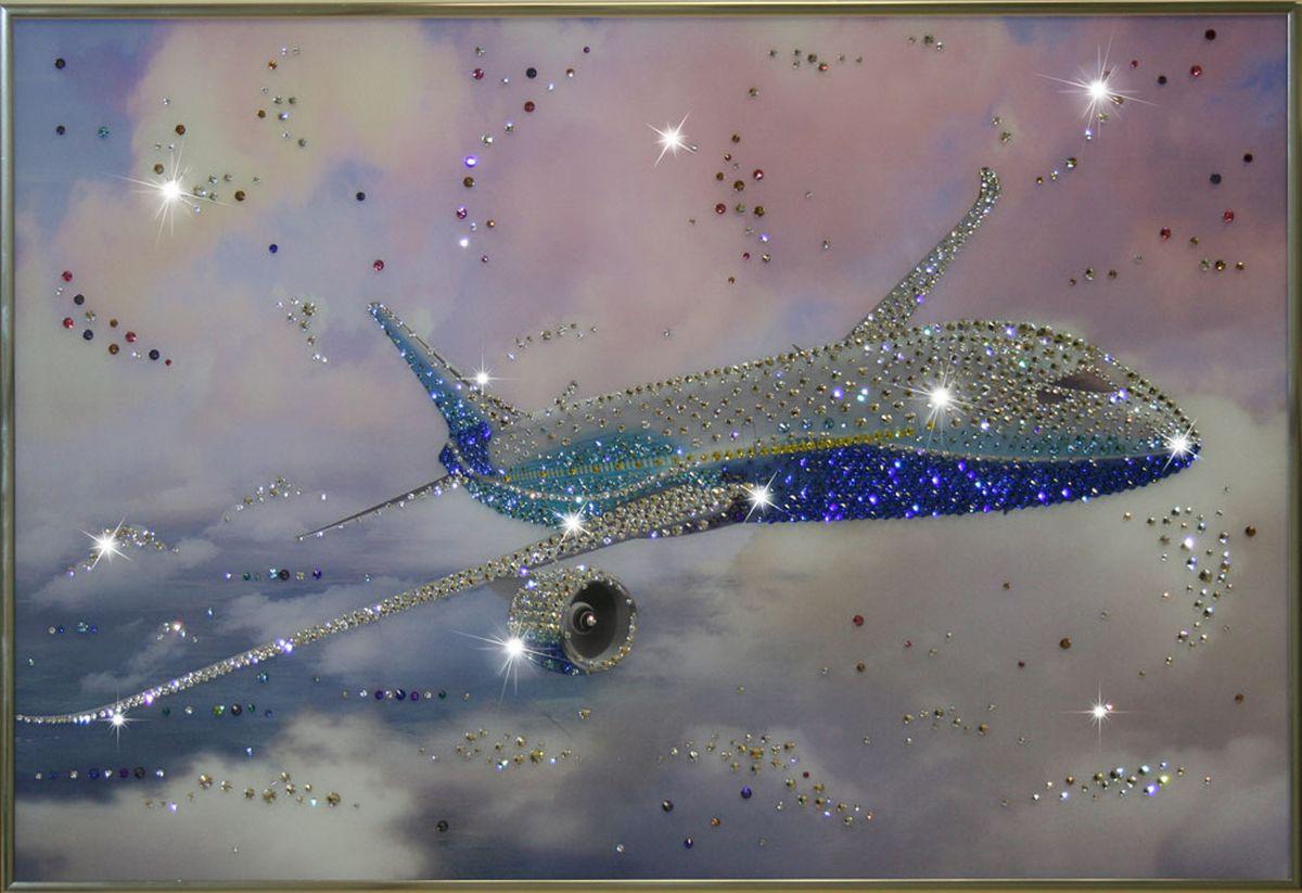 1270 Картина Сваровски Самолет1270стекло, хрусталь, алюминий. 60х40