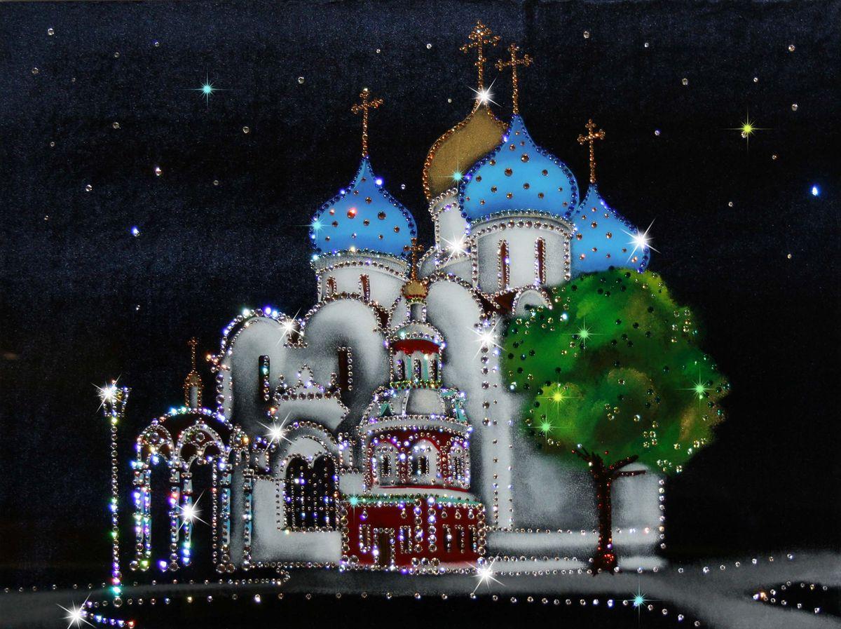 1299 Картина Сваровски Успенский собор Троице-Сергиевой лавры1299стекло, хрусталь, алюминий. 70х50