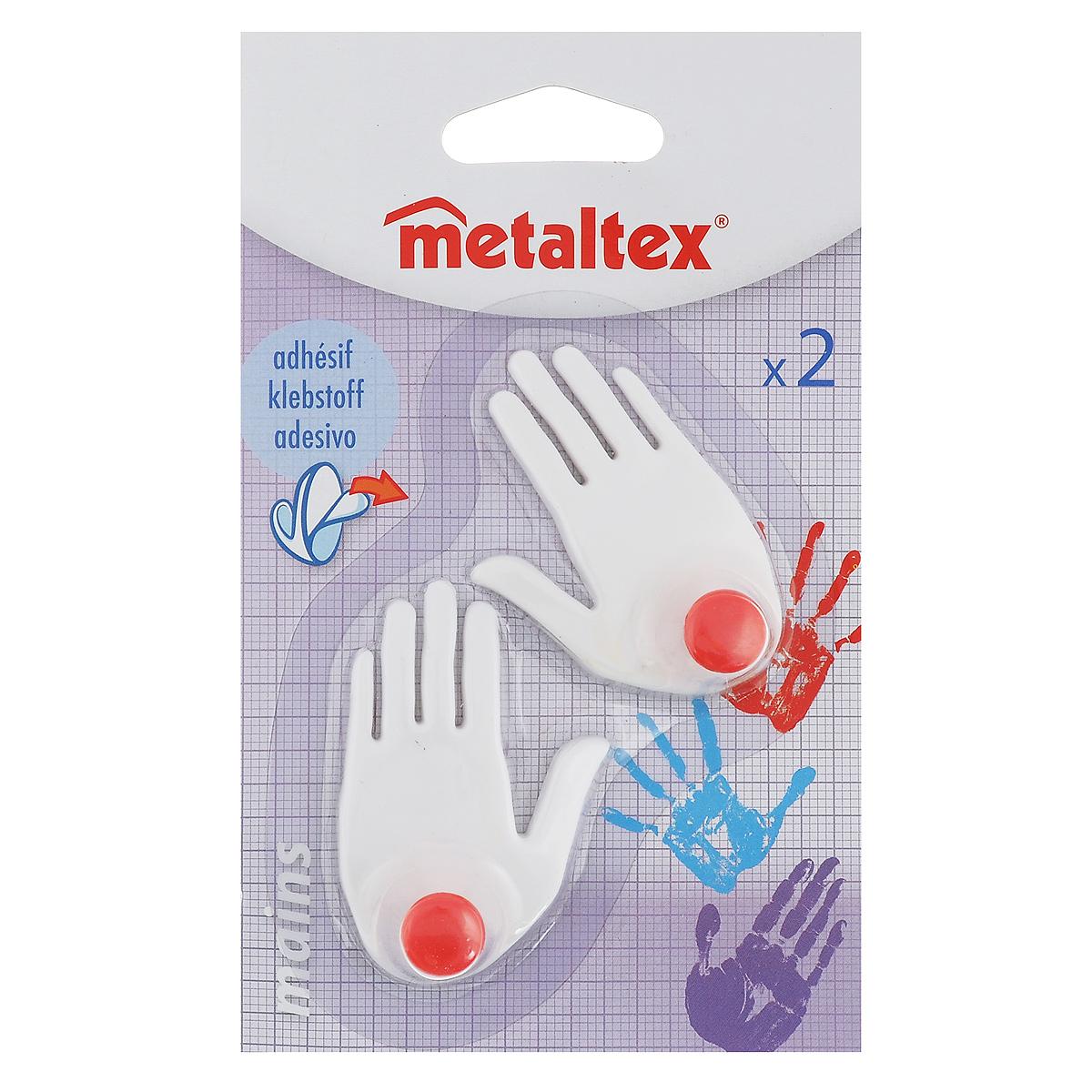 Набор крючков Metaltex Mains, 2 шт29.40.02Набор настенных крючков Metaltex Mains изготовлен из прочного пластика ввиде левой и правой руки. Они прекрасно подойдут для вашей ванной комнатыили кухни и не займут много места, надежно выдержав все, что вына них повесите. Крючки могут крепится на стену с помощью липкой лентыкоторая находится на задней стороне крючка. Размер крючка: 4 х 1,5 х 6 см. Комплектация: 2 шт.