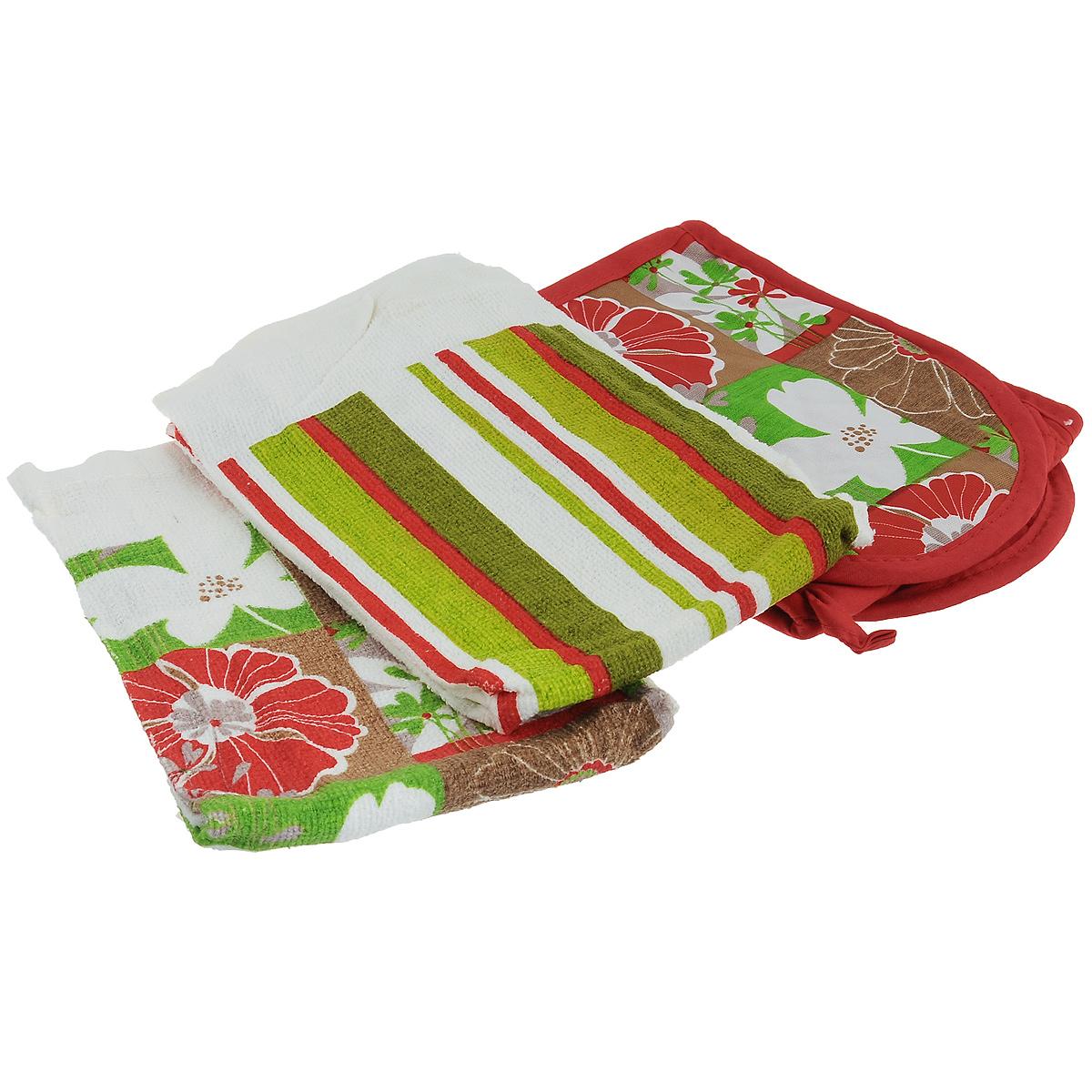 Набор для кухни Primavelle Цветы, 3 предмета49328584-f25Набор для кухни Primavelle Цветы состоит из двойной прихватки и двух полотенец. Предметы набора изготовлены из натурального хлопка и оформлены ярким цветочным изображением.Полотенца подарят вам мягкость и необыкновенный комфорт в использовании. Они идеально впитывают влагу и сохраняют свою необычайную мягкость даже после многих стирок.Стеганая двойная прихватка снабжена кармашками для рук и петелькой для удобного подвешивания на крючок. Такой комплект украсит ваш интерьер или станет прекрасным подарком. Размер полотенец: 63 см х 38 см.Размер прихватки: 78,5 см х 16,3 см.