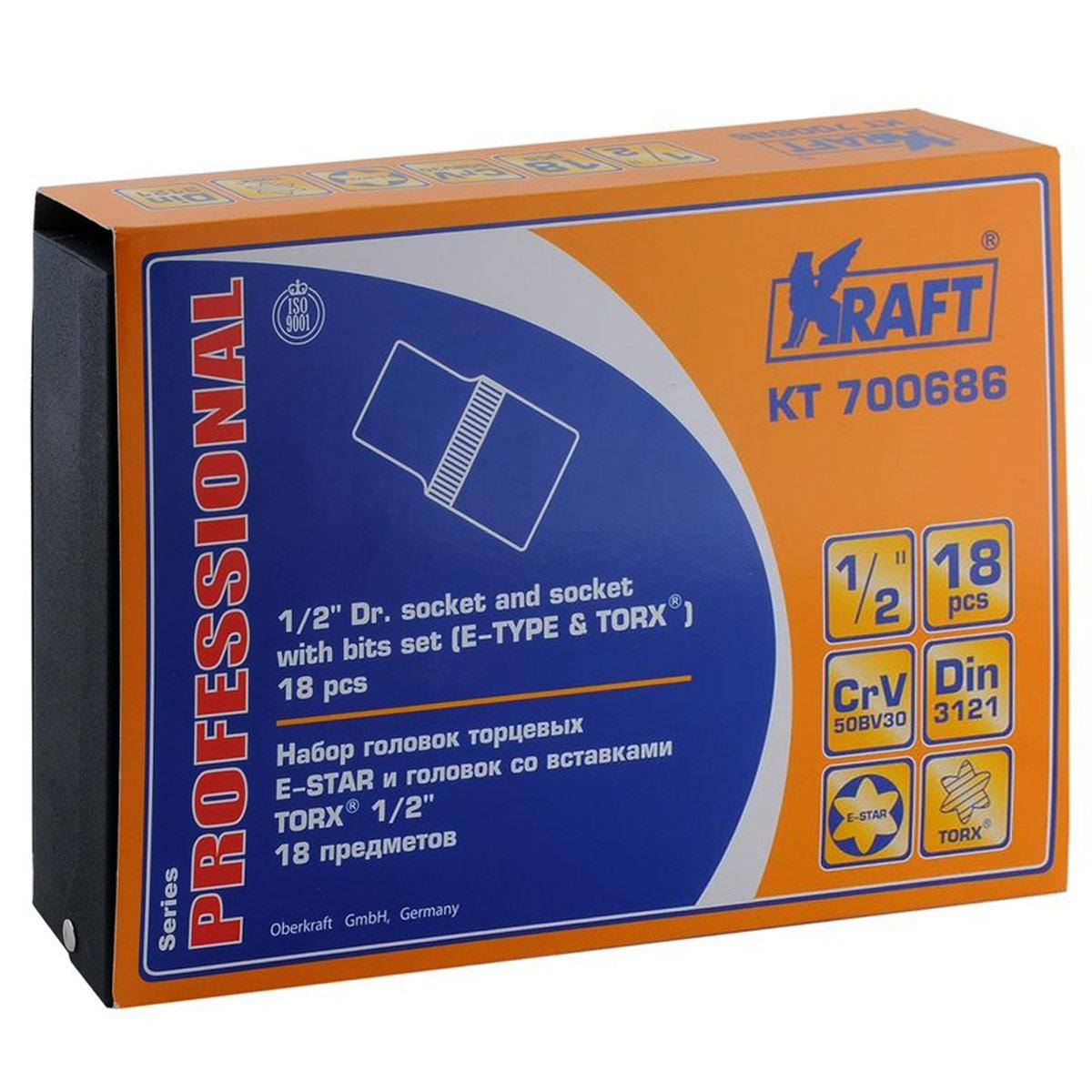 Набор торцевых головок Kraft Professional Е-star, со вставками Torx, 1/2, 18 предметовКТ700686В набор Kraft Professional входят торцевые головки с внутренним рабочим профилем Е-star, и внешним рабочим профилем Torx. Место для присоединительного квадрата 1/2.Состав набора: шестигранные торцевые головки E-Star 1/2: E10, E11, E12, E14, E16, E18, Е20, Е22, Е24; шестигранные торцевые головки Torx 1/2: Т20, T25, T30, T40, T45, T50, Т55, Т60, Т70. Торцевые головки Kraft Professional изготовлены из хромованадиевой стали марки 50BV30 со специальным трехслойным покрытием, обеспечивающим долговременную защиту от механических повреждений.