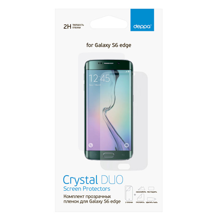 Deppa комплект защитных пленок для Samsung Galaxy S6 Edge, прозрачные защитная пленка deppa комплект защитных пленок для galaxy s6 edge