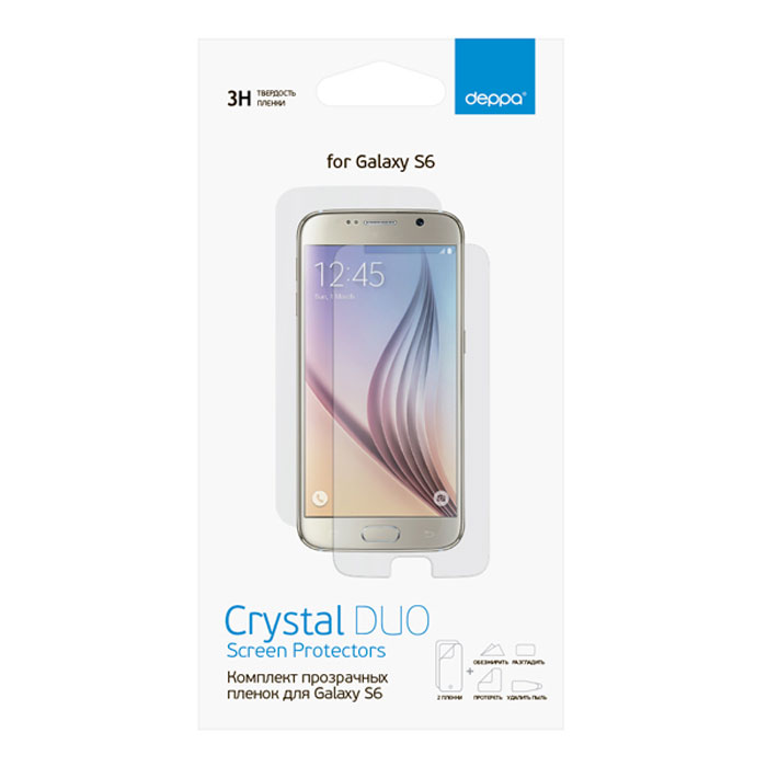 Deppa комплект защитных пленок для Samsung Galaxy S6, прозрачные защитная пленка deppa комплект защитных пленок для galaxy s6 edge