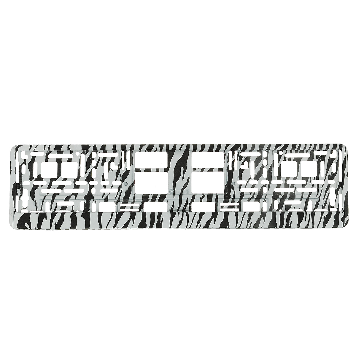 Рамка под номер ЗебраЗ0000014145Рамка Зебра не только закрепит регистрационный знак на вашем автомобиле, но и красиво его оформит. Основание рамки выполнено из полипропилена, материал лицевой панели - пластик.Она предназначена для крепления регистрационного знака российского и европейского образца, декорирована принтом. Устанавливается на все типы автомобилей. Крепления в комплект не входят.Стильный дизайн идеально впишется в экстерьер вашего автомобиля.Размер рамки: 53,5 см х 13,5 см. Размер регистрационного знака: 52,5 см х 11,5 см.
