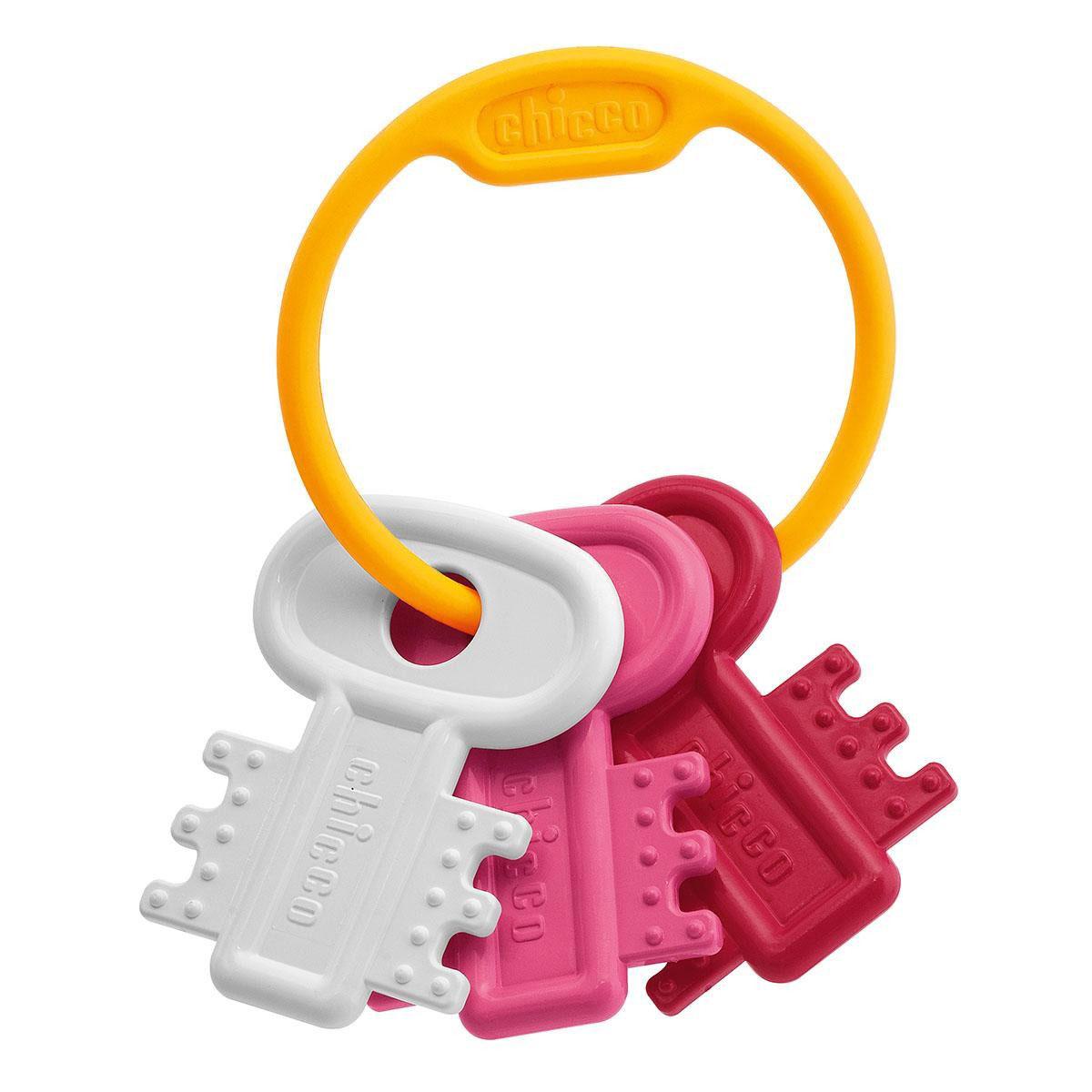 Chicco Погремушка Ключи на кольце, цвет: белый, розовый
