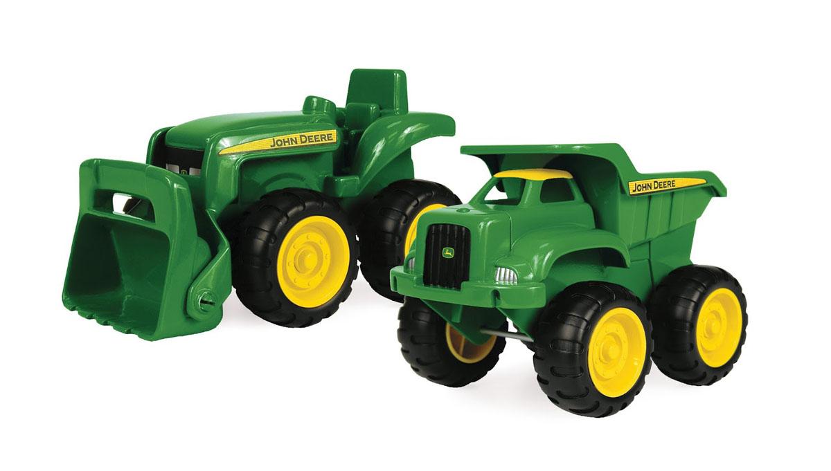 Tomy Набор для песочницы Трактор и самосвал John Deere 2 предмета машинки tomy трактор с большими колесами с подсветкой и звуком