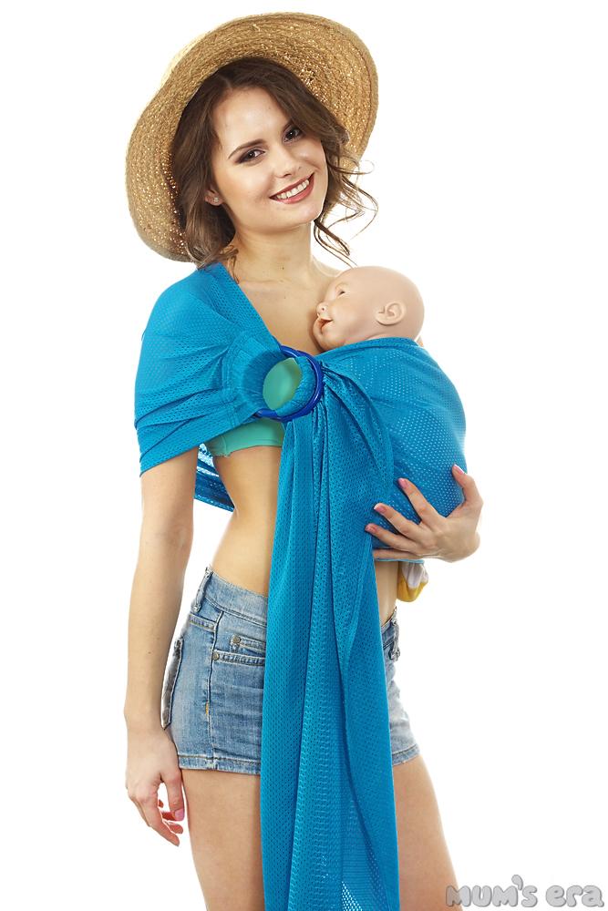 """Слинг с кольцами Mum's Era """"Аква"""", цвет: голубой, 190 см х 56 см"""