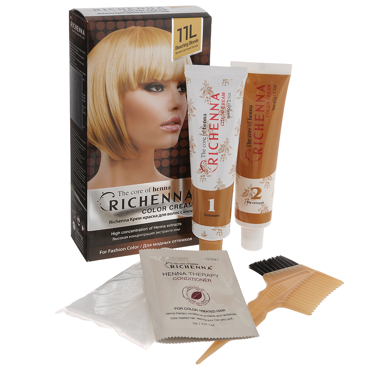 Крем-краска для волос Richenna с хной, 11L. Яркий светлый блондин29009Крем-краска для волос Richenna с хной рекомендуется для безопасного изменения цвета волос, полного окрашивания седых волос и в случае повышенной чувствительности к искусственным компонентам краски для волос. Высокая концентрация экстракта хны в составе крем-краски позволяет уменьшить повреждение волос, сделать их эластичными и здоровыми, придает волосам живой цвет и красивый блеск. Не раздражая кожу, крем-краска полностью закрашивает седину и обладает приятным цветочным ароматом. Упаковка средства в 2-х отдельных тубах позволяет использовать средство несколько раз в зависимости от объема и длины волос. Благодаря кремовой текстуре хорошо наносится и не течет. Время окрашивания 20-30 мин. Характеристики:Номер краски: 11L.Цвет: яркий светлый блондин.Объем крем-краски: 60 г.Объем крем-окислителя: 60 г.Объем шампуня с хной: 10 мл.Объем кондиционера с хной: 7 мл.Производитель: Корея.В комплекте: 1 тюбик с крем-краской, 1 тюбик с крем-окислителем, 1 пакетик с шампунем, 1 пакетик с кондиционером, 1 пара перчаток, накидка, пластиковая тара, расческа-кисточка для нанесения и распределения крем-краски и инструкция по применению. Товар сертифицирован.Внимание! Продукт может вызвать аллергическую реакцию, которая в редких случаях может нанести серьезный вред вашему здоровью. Проконсультируйтесь с врачом-специалистом передприменением любых окрашивающих средств.