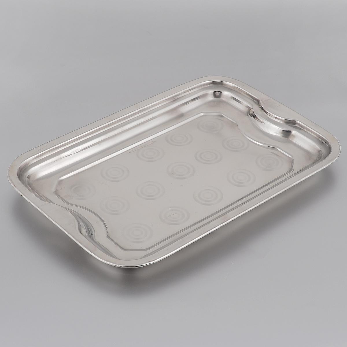 Поднос Padia, 32 х 22 см5400-30Прямоугольный поднос Padia выполнен из высококачественной нержавеющей стали. Он отлично подойдет для красивой сервировки различных блюд, закусок и фруктов на праздничном столе. Благодаря двум ручкам поднос с легкостью можно переносить с места на место.Поднос Padia займет достойное место на вашей кухне.Размер подноса (по верхнему краю): 32 см х 22 см.Высота подноса: 2,5 см.