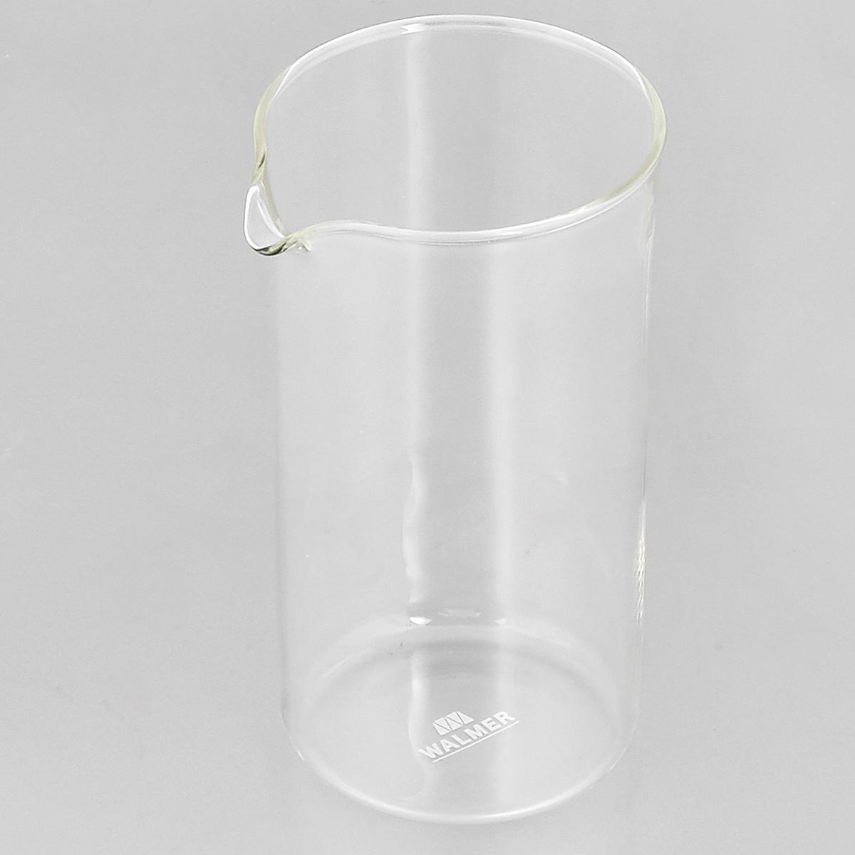 """Колба """"Walmer"""", изготовленная из высококачественного прозрачного стекла, предназначена для кофейников и френч-прессов. Изделие прекрасно подойдет для замены старой разбитой колбы. Это сосуд, который напрямую контактирует с напитком, поэтому он должен быть выполнен из качественных материалов. Изделие выдерживает высокие температуры и не мутнеет при многократном мытье. Данная колба прослужит вам надежно и долго.Можно мыть в посудомоечной машине.Диаметр: 7 см.Высота: 13,5 см.Объем: 350 мл."""