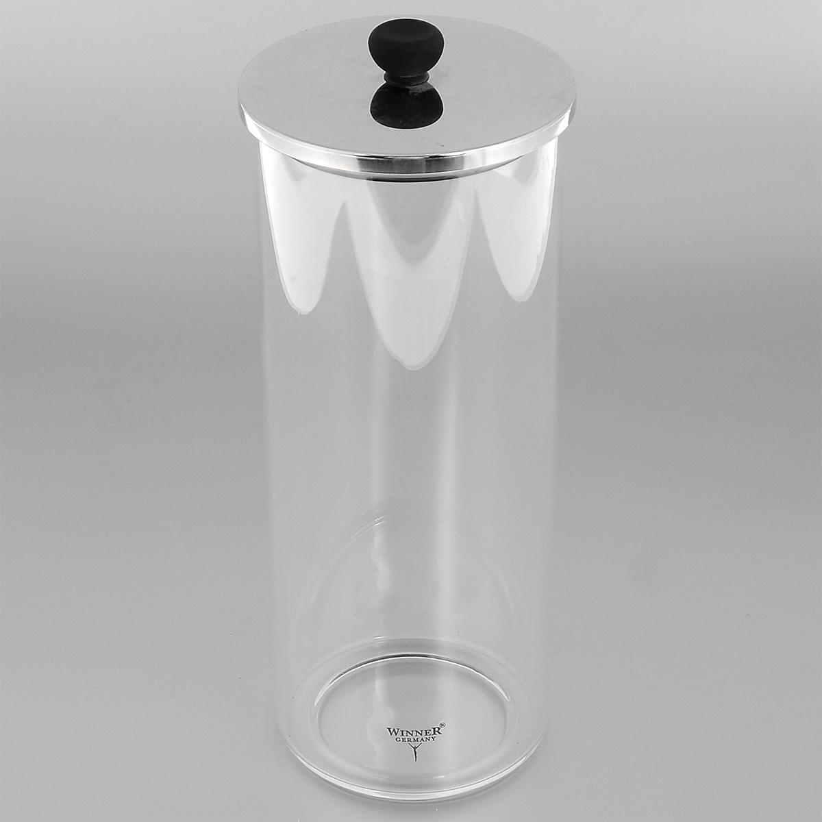 """Контейнер """"Winner"""", выполненный из высококачественного стекла, станет  незаменимым помощником на кухне. В нем будет удобно хранить разнообразные  сыпучие продукты, такие как кофе, крупы, макароны или специи. Контейнер  снабжен герметичной крышкой из нержавеющей стали с силиконовым  уплотнителем, благодаря чему продукты в нем дольше останутся свежими.  Контейнер """"Winner"""" станет достойным дополнением к кухонному инвентарю.  Диаметр: 9,5 см. Высота (без учета крышки): 22 см. Объем: 1,2 л."""