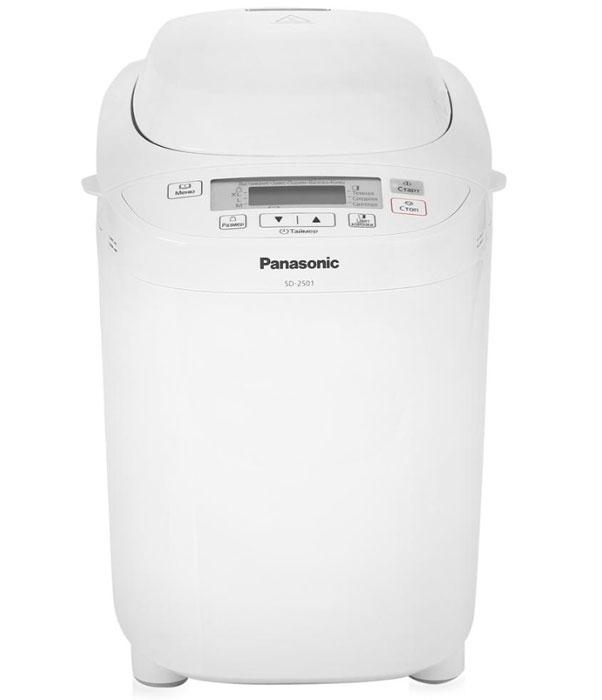 Panasonic SD-2501WTS хлебопечьSD-2501WTSPanasonic SD-2501WTS - автоматическая хлебопечь с диспенсером для изюма и орехов, программой выпечки ржаного хлеба, хлеба без глютена, а так же программой для приготовления варенья и компота. Выпекайте хлеб дома - легко! Алмазно-фтористое покрытие формы для выпечки хлеба для защиты от повреждений.12 программ выпечки хлеба.10 программ приготовления теста (8 программ приготовления теста для пирогов, программа приготовления теста для пельменей, программа приготовления теста для пиццы).Каждая программа реализует определенный способ приготовления теста/хлеба и подходит для большого количества разнообразных рецептов.Программа для замеса крутого пресного теста (пельмени) подходит для домашней лапши, вареников, хвороста и многого другого.Отдельная программа для быстрого замеса дрожжевого теста для пиццы.Программа приготовления традиционного русского варенья.Новая программа приготовления фруктов в сиропе. Выпечка кексов и шарлоток (при 180°C до 90 мин).Программа выпечки хлеба из безглютеновых смесей. Программа выпечки однозернового хлеба.Сохранение хлеба горячим после окончания работы программы. Выбор цвета корочки (3 варианта: светлый, средний, темный).Максимальный размер буханки 1,25 кг.3 размера буханок (750/900/1250 г.)Таймер отсрочки выпечки до 13 часов.Диспенсер для автоматического добавления дополнительных ингредиентов.Емкость диспенсера для изюма и орехов 150 г изюма.Минимальное время выпечки хлеба 1 час 55 мин (Основной скорый).Максимальное время выпечки хлеба 6 часов (Французский).Антипригарное покрытие формы для выпечки.Компактная модель с большим дисплеем.