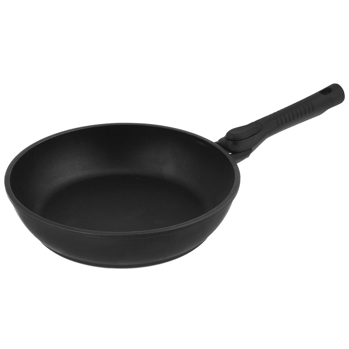 Сковорода литая Нева Металл Посуда Классическая, с антипригарным покрытием, со съемной ручкой, цвет: черный. Диаметр 28 см8028УСковорода НМП Классическая из литого алюминия, с 4-слойным полимер-керамическим антипригарным покрытием, многофункциональна и удобна в эксплуатации, в ней можно жарить, тушить и томить. Отлично подходит для приготовления гарниров и блюд с большим количеством ингредиентов. Эргономичная ручка - съемная, что позволяет использовать сковороду в духовом шкафу. Благодаря качественному антипригарному покрытию, вы можете готовить с минимальным количеством масла. Особенности посуды серии ТИТАН: - 4-слойная антипригарная полимер-керамическая система ТИТАН является эталоном износостойкости антипригарного покрытия, непревзойденного по сроку службы и длительности сохранения антипригарных свойств, благодаря особому составу, структуре и толщине - в состав системы ТИТАН входят антипригарные слои на водной основе - система ТИТАН традиционно производится без использования PFOA /перфтороктановой кислоты/ - равномерно нагревается за счет особой конструкции корпуса по принципу золотого сечения, толстых стенок и еще более толстого дна - приготовленная еда получается особенно вкусной благодаря специфическим термоаккумулирующим свойствам литого алюминия - подходит для газовых, электрических и стеклокерамических плит. Посуду можно мыть в посудомоечной машине- корпус практически не подвержен деформации даже при сильном нагреве - изделия проходят тесты по условному циклу приготовления: нагрев до 220°С, охлаждение, истирание губкой с 5%-раствором моющего средства. Сковороды с покрытием ТИТАН выдерживают более 4000 таких циклов.Диаметр: 28 см.Высота стенки: 6 см. Толщина стенки: 4 мм.Толщина дна: 6 мм.Длина ручки: 20 см.