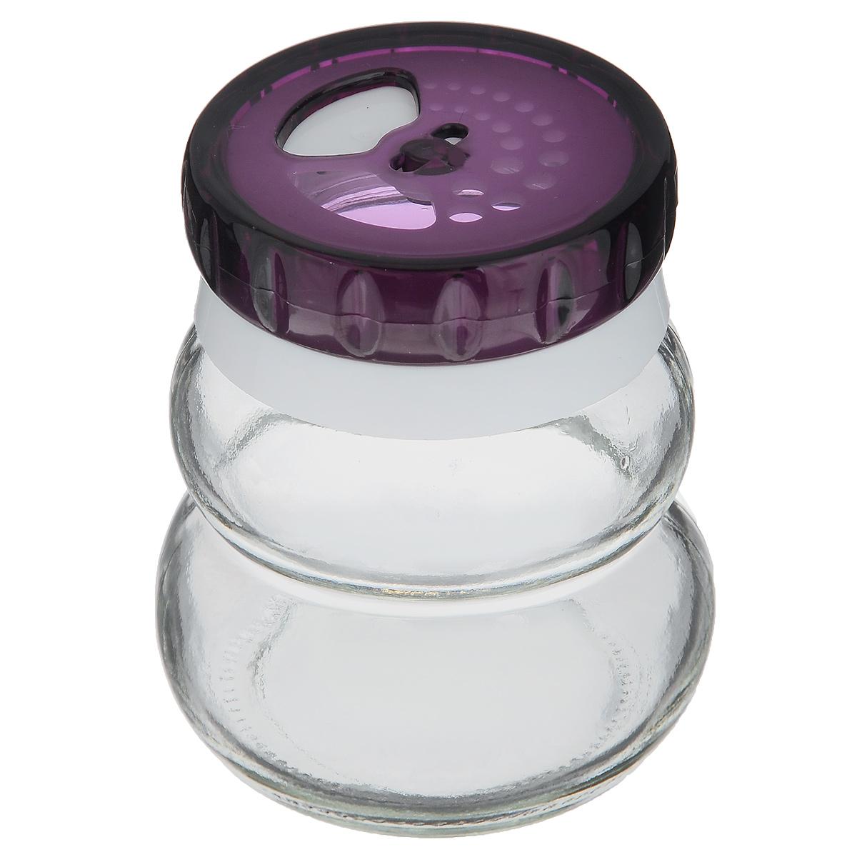 Банка для специй Herevin, цвет: фиолетовый, 200 мл131007-000_фиолетовыйБанка для специй Herevin выполнена из прозрачного стекла и оснащена пластиковой цветной крышкой с отверстиями разного размера, благодаря которым, вы сможете приправить блюда, просто перевернув банку. Крышка снабжена поворотным механизмом, благодаря которому вы сможете регулировать степень подачи специй. Крышка легко откручивается, благодаря чему засыпать приправу внутрь очень просто. Такая баночка станет достойным дополнением к вашему кухонному инвентарю. Можно мыть в посудомоечной машине.Объем: 200 мл.Диаметр (по верхнему краю): 4 см.Высота банки (без учета крышки): 7,5 см.