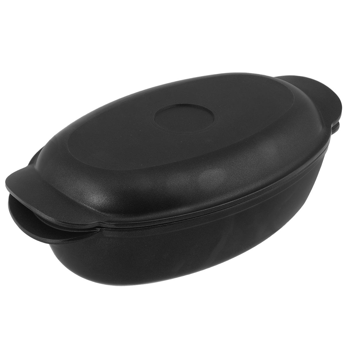 Утятница литая Нева посуда, с крышкой-сковородой, с антипригарным покрытием, цвет: черный, 3 л