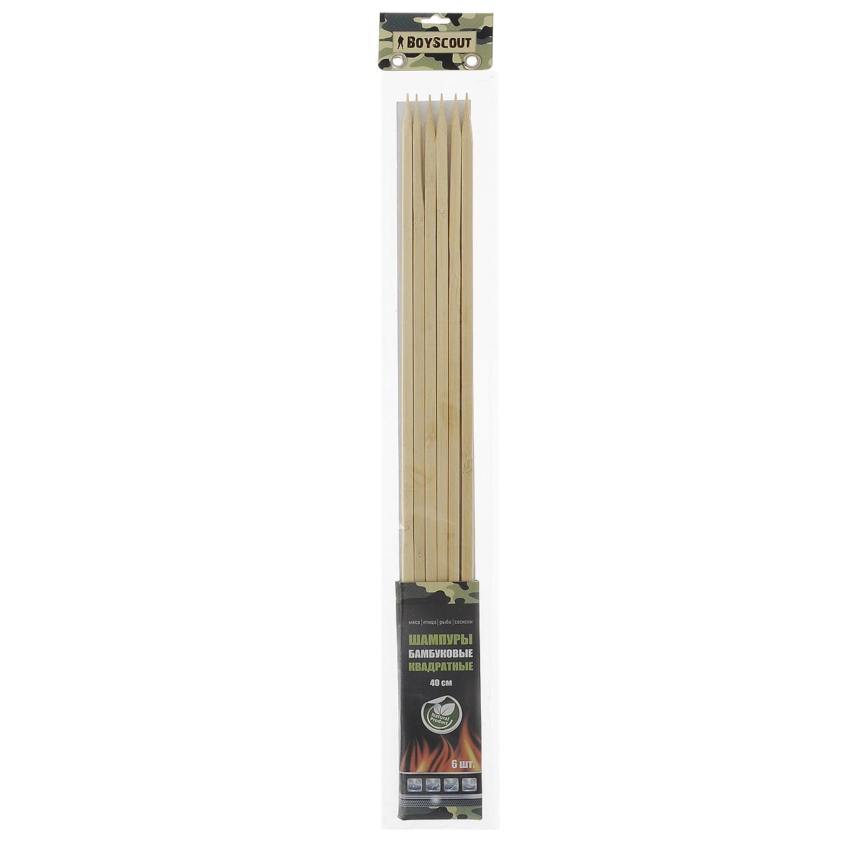 Шампуры бамбуковые Boyscout, квадратные, длина 40 см, 6 шт шампуры двойные boyscout с деревянной ручкой 33 см 4 шт