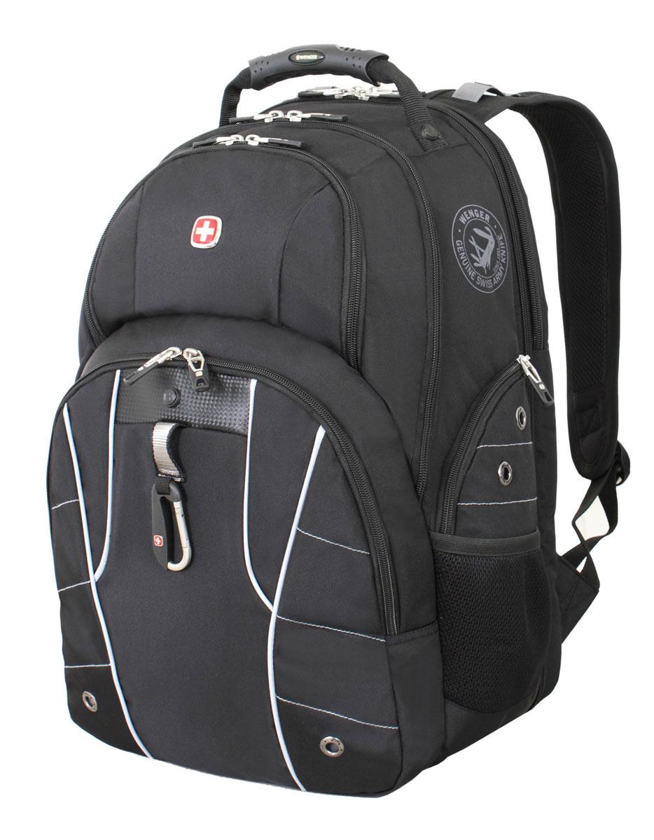 Рюкзак городской Wenger, цвет: черный, серебристый, 34 см х 18 см х 47 см, 29 л6939204408Высококачественный и стильный, надежный и удобный, а главное прочный рюкзак Wenger. Благодаря многофункциональности данный рюкзак позволяет удобно и легко укладывать свои вещи.Особенности рюкзака:2 внешних боковых кармана на молнии с вентиляцией. 2 внешних кармана на молнии. 2 внешних сетчатых кармана для бутылок с водой. Большое основное отделение. Внешний карабин. Внутренний карабин для ключей. Возможность крепления на чемодане. Вставка из искусственной кожи. Отделение для 17 ноутбука с системой ScanSmart. Карман с мягкими стенками для планшетного компьютера шириной 18 см. Карман-органайзер для мелких предметов. Металлические застежки молний с пластиковыми вставками. Петля для очков. Регулируемые плечевые ремни. Ручка с прочным кожухом для переноски. Внутренний сетчатый карман на молнии для хранения аксессуаров ноутбука. Эргономичная спинка с системой циркуляции воздуха Airflow.