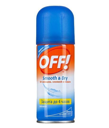 Аэрозоль от комаров OFF! Smooth & Dry, 100 мл от комаров off