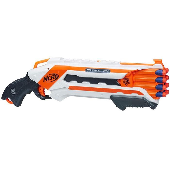 Nerf Бластер Rough Cut 2х4, с патронами, цвет: белый, оранжевый щепа для копчения дюнамис ольха 250 г