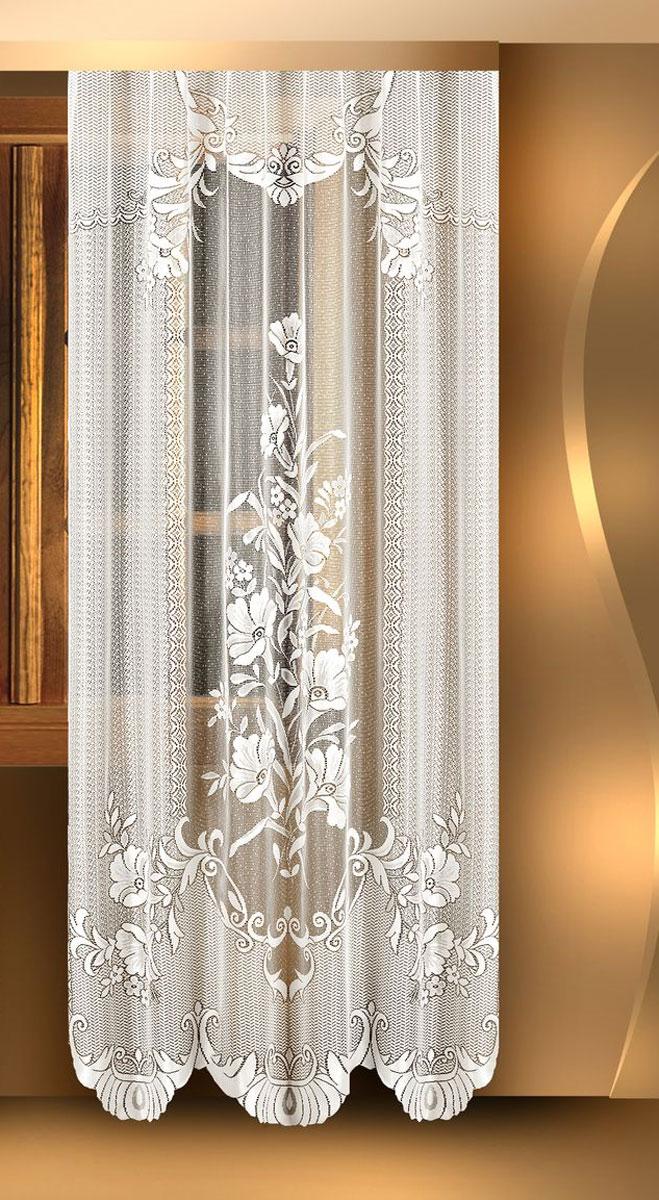 """Воздушная гардина """"Zlata Korunka"""", изготовленная из полиэстера белого цвета, станет великолепным украшением любого окна. Гардина выполнена из сетчатого материала и декорирована цветочным рисунком.  Тонкое плетение и оригинальный дизайн привлекут к себе внимание и органично впишутся в интерьер. Верхняя часть гардины не оснащена креплениями."""