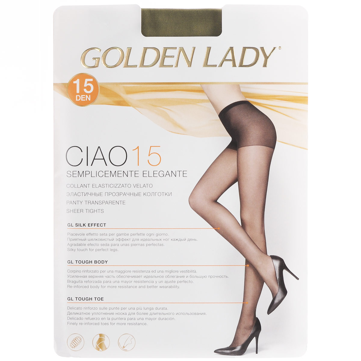 Колготки женские Golden Lady Ciao 15, цвет: Daino (бледно-коричневый). 36N-UR. Размер 4 (L)36N-URТонкие эластичные колготки Golden Lady Ciao с комфортными швами и укрепленным мыском. Плотность: 15 den.