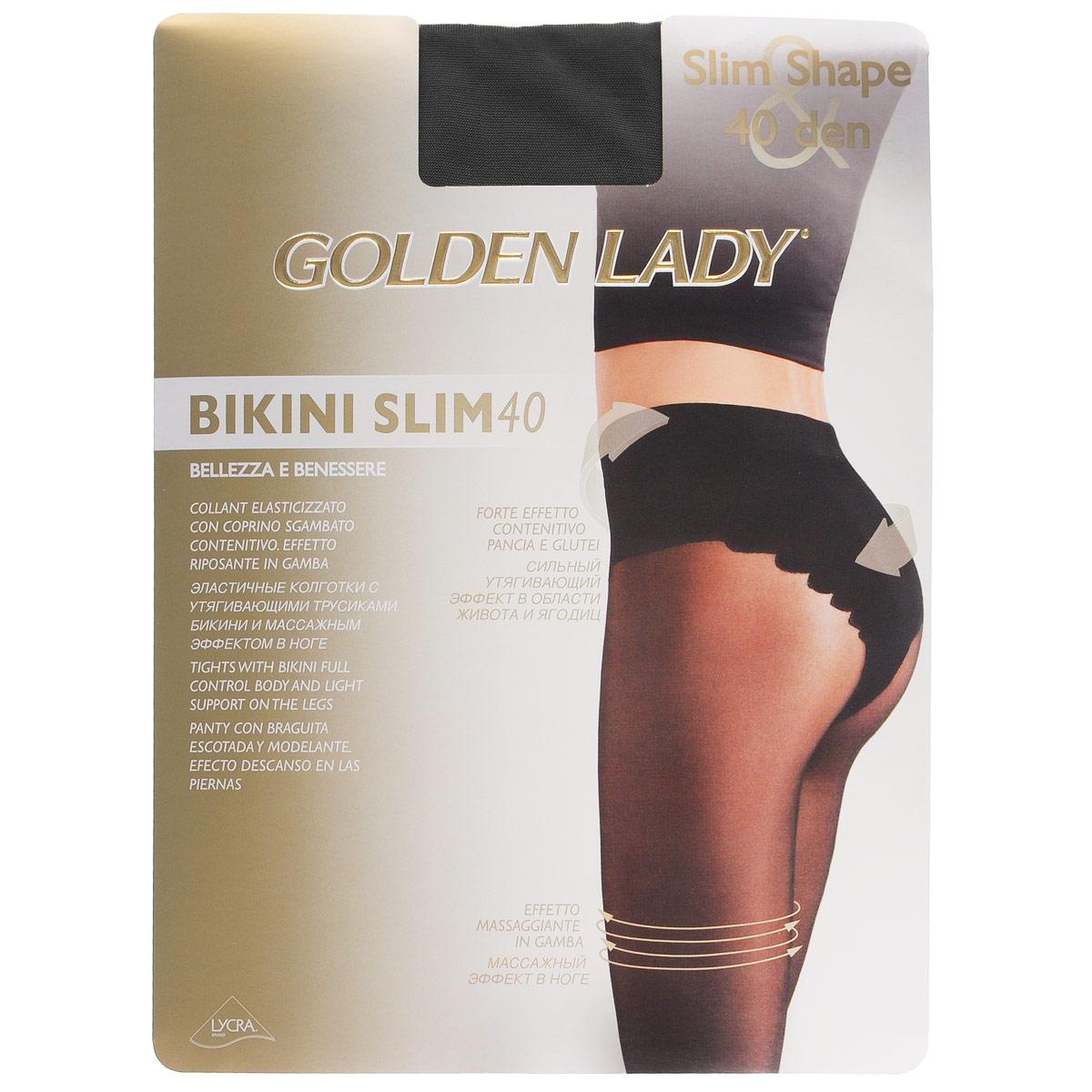 Колготки женские Golden Lady Bikini Slim 40, цвет: Nero (черный). 122LLL. Размер 4 (L) колготки женские golden lady bikini slim 40 цвет nero черный 122lll размер 4 l