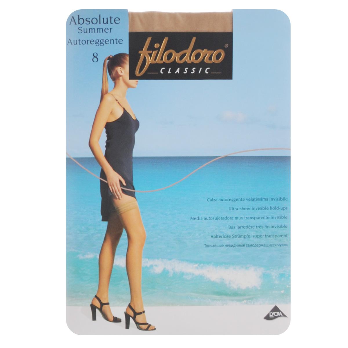 Чулки Filodoro Classic Absolute Summer 8 Autoreggente, цвет: Playa (телесный). C109801FC. Размер 3 (M) чулки с блестящим узором 1 2