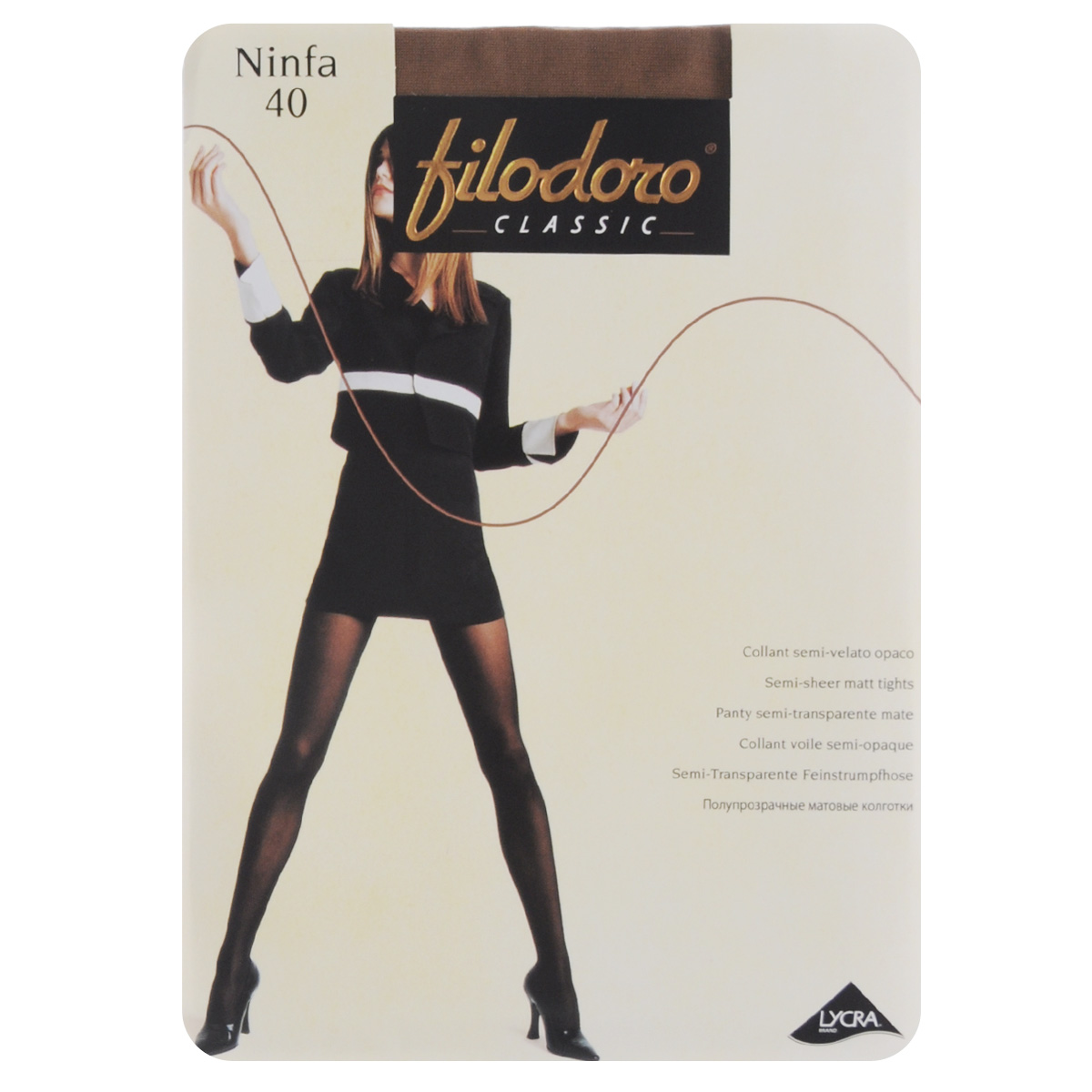 Колготки женские Filodoro Classic Ninfa 40, цвет: Glace (коричневый). C115059FC. Размер 5 (Maxi-XL) колготки женские filodoro classic oda 40 elegance цвет nero черный c113128fc размер 5 maxi xl