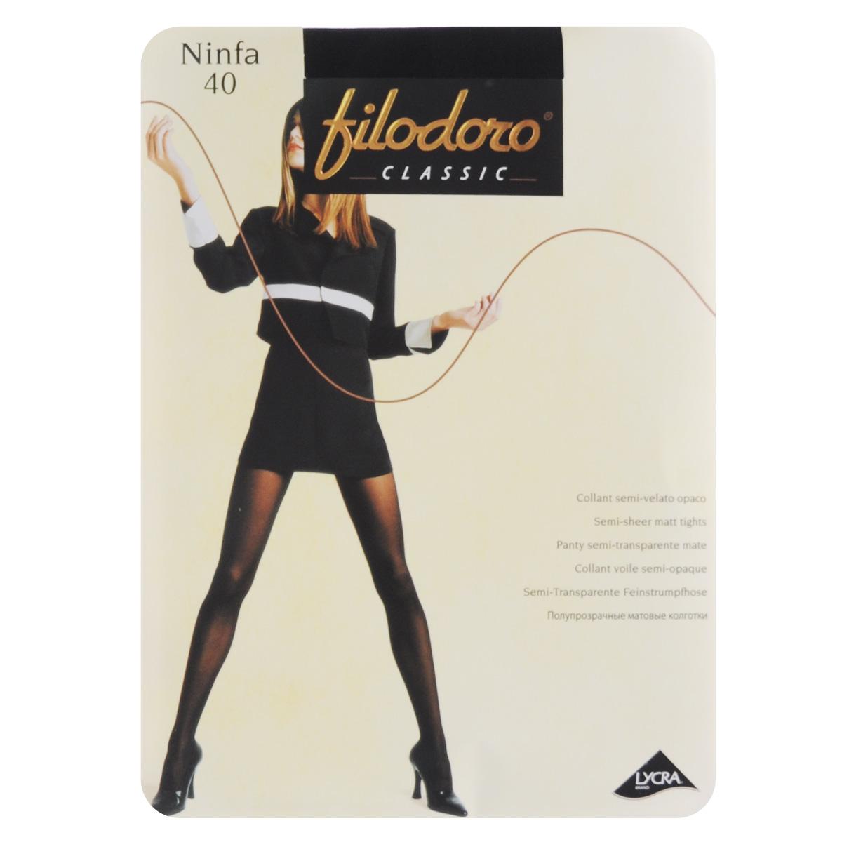 Колготки женские Filodoro Classic Ninfa 40, цвет: Nero (черный). C115059FC. Размер 5 (Maxi-XL) колготки женские filodoro classic oda 40 elegance цвет nero черный c113128fc размер 5 maxi xl