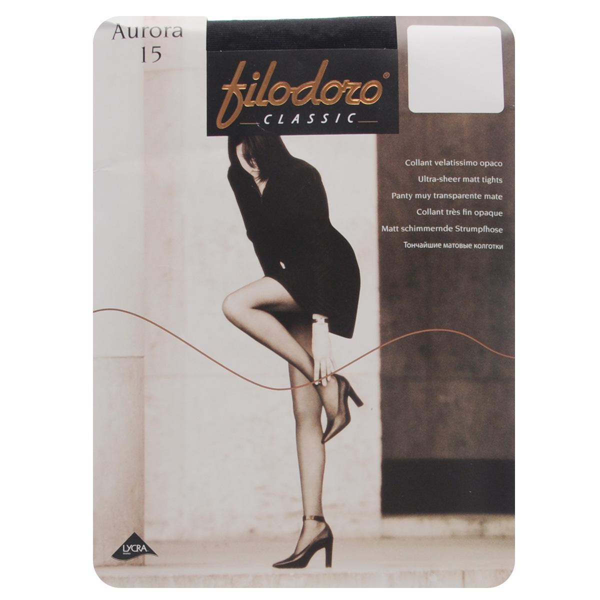 Колготки женские Filodoro Classic Aurora 15, цвет: Nero (черный). C110177FC. Размер 4 (L) колготки filodoro slim control top размер 2 плотность 40 den nero