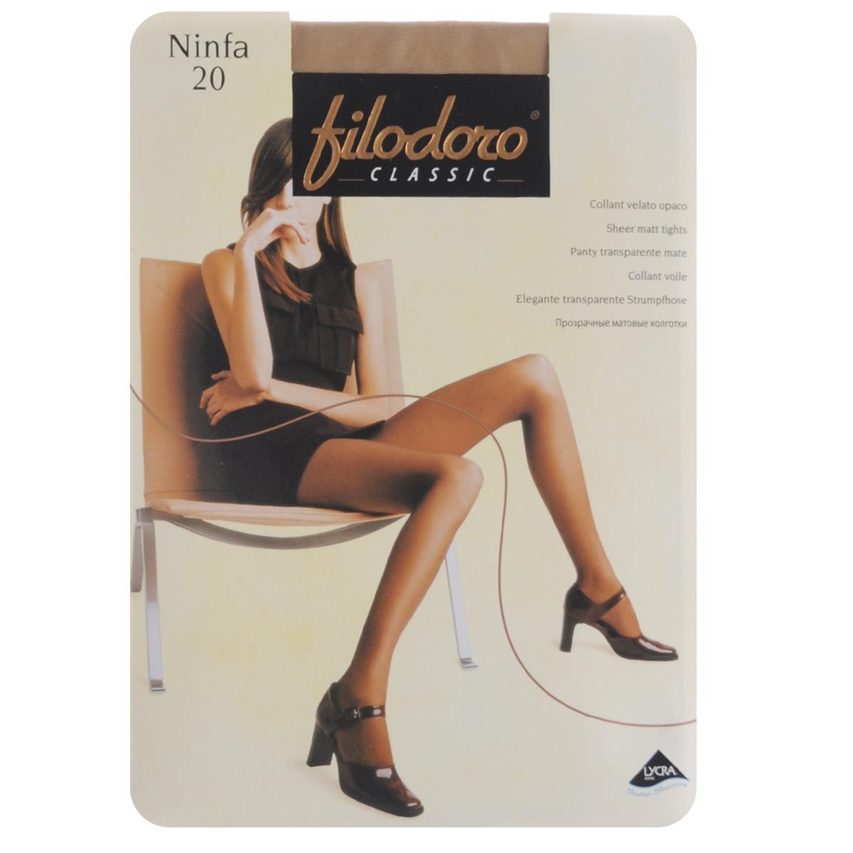 Колготки женские Filodoro Classic Ninfa 20, цвет: Playa (телесный). C109172FC. Размер 5 (Maxi-XL) колготки женские filodoro classic ninfa 20 цвет nero черный c109172fc размер 2 s