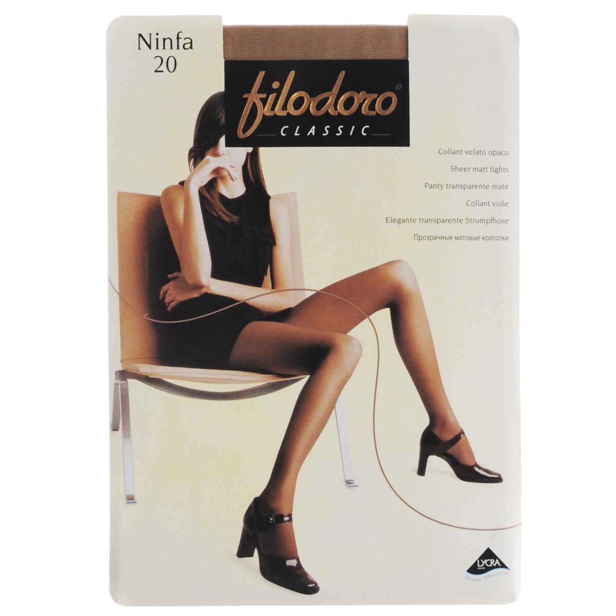 Колготки женские Filodoro Classic Ninfa 20, цвет: Cognac (загар). C109172FC. Размер 5 (Maxi-XL) колготки filodoro ninfa размер 2 плотность 40 den vita bassa playa