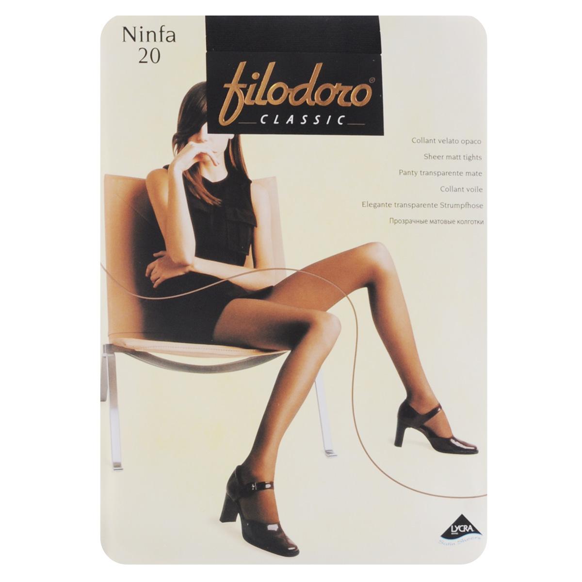 Колготки женские Filodoro Classic Ninfa 20, цвет: Nero (черный). C109172FC. Размер 5 (Maxi-XL) колготки filodoro ninfa размер 2 плотность 40 den vita bassa playa