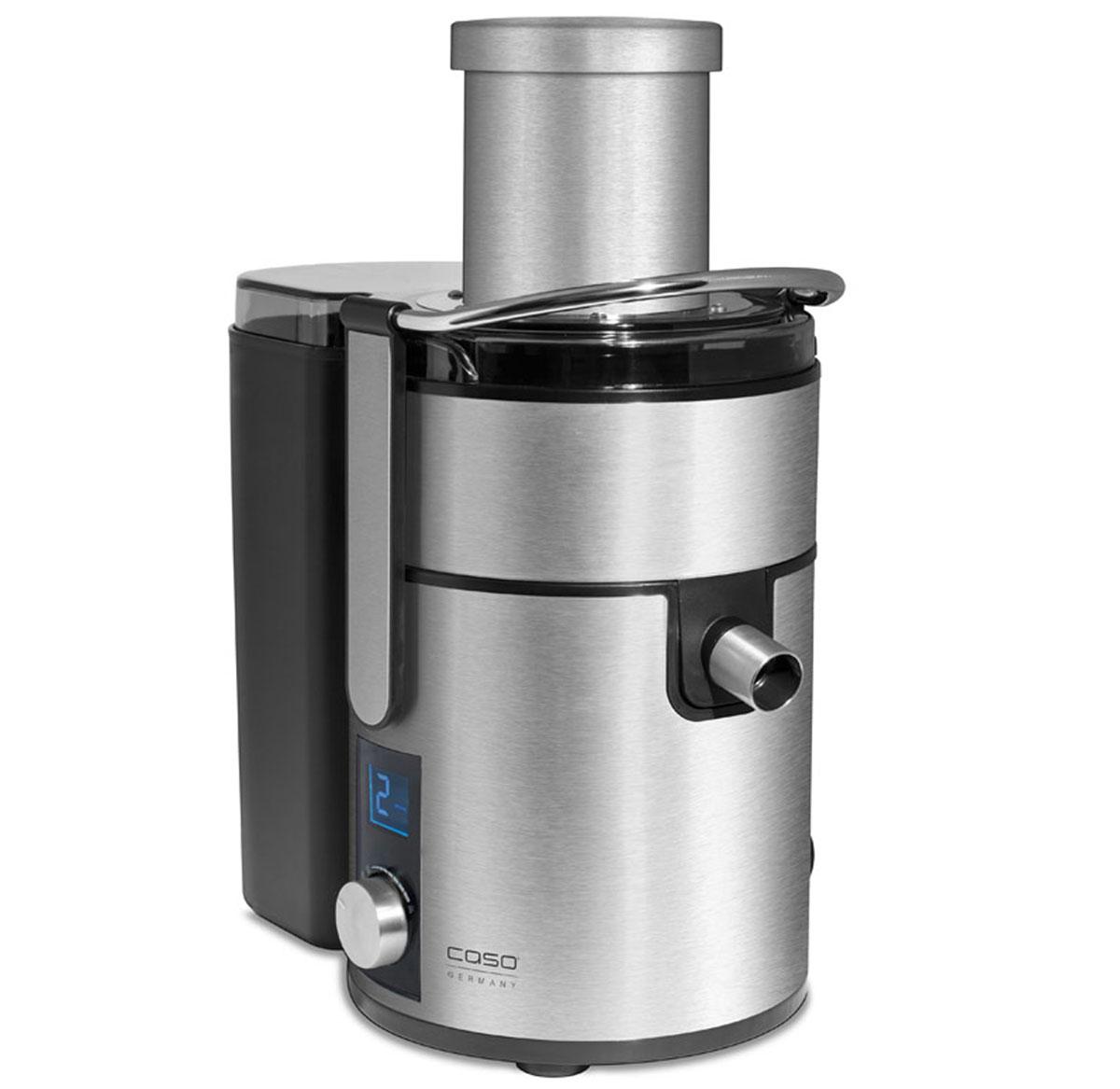 CASO PJ1000 соковыжималкаPJ 1000Высококачественная соковыжималка CASO PJ1000 идеально подойдет вашей кухне благодаря современному и очень красивому дизайну. Данная модель станет надежным источником витаминов и энзимов, позволяя выдавливать сок практически из любых продуктов, независимо от их твердости. Мощность в 800 Вт дает возможность быстро получать ароматный и насыщенный сок, даже при обработке твердых фруктов и овощейБлагодаря широкой загрузочной горловине 85 мм есть возможность загрузить целые фрукты и овощи.