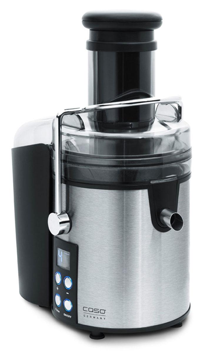 CASO PJ800 соковыжималкаPJ 800Высококачественная соковыжималка CASO PJ 800 идеально подойдет вашей кухне благодаря современному и очень красивому дизайну. Данная модель станет надежным источником витаминов и энзимов, позволяя выдавливать сок практически из любых продуктов, независимо от их твердости. Мощность в 800 Вт дает возможность быстро получать ароматный и насыщенный сок, даже при обработке твердых фруктов и овощейБлагодаря широкой загрузочной горловине 75 мм есть возможность загрузить целые фрукты и овощи.
