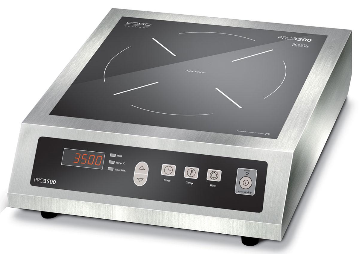 CASO Pro 3500 настольная индукционная плиткаPRO 3500Настольная индукционная плита CASO PRO 3500 – верная помощница на кухне,которая служит качественно и долго и доставляет своему владельцу только положительныеэмоции. Прибор имеет одну зону нагрева, сенсорное управление с дисплеем и светодиоднойиндикацией. Модель проста и понятна в настройке и управлении. Поверхность легкоочищается от загрязнений. Варочная панель оснащена системой индукционного нагрева.Индуктор, расположенный под поверхностью, создает переменное электромагнитное поле –в результате этого в дне посуды индуцируется ток, что и приводит к нагреву. Теплообразуется непосредственно в дне посуды без промежуточного нагрева конфорки. Максимальная нагрузка: 6 кг.