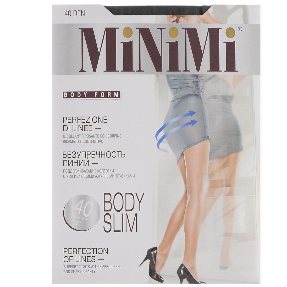 Колготки женские Minimi Body Slim 40, цвет: Nero (черный). Размер 4 (L)BODY SLIM 40Эластичные поддерживающие колготки Minimi Body Slim с комфортными плоскими швами, гигиеничной ластовицей и укрепленным мыском. Изюминка модели - плотные утягивающие трусики (70 den) с ажурным оформлением, которые моделируют фигуру в области живота, бедер и ягодиц. Плотность колготок: 40 den.