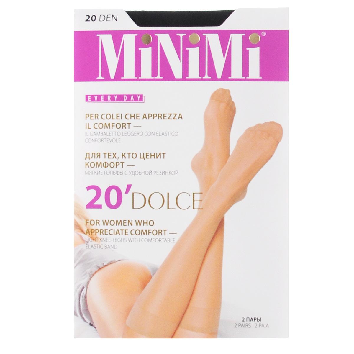 купить Гольфы женские Minimi Dolce 20, 2 пары, цвет: Nero (черный). Размер универсальный по цене 74.2 рублей
