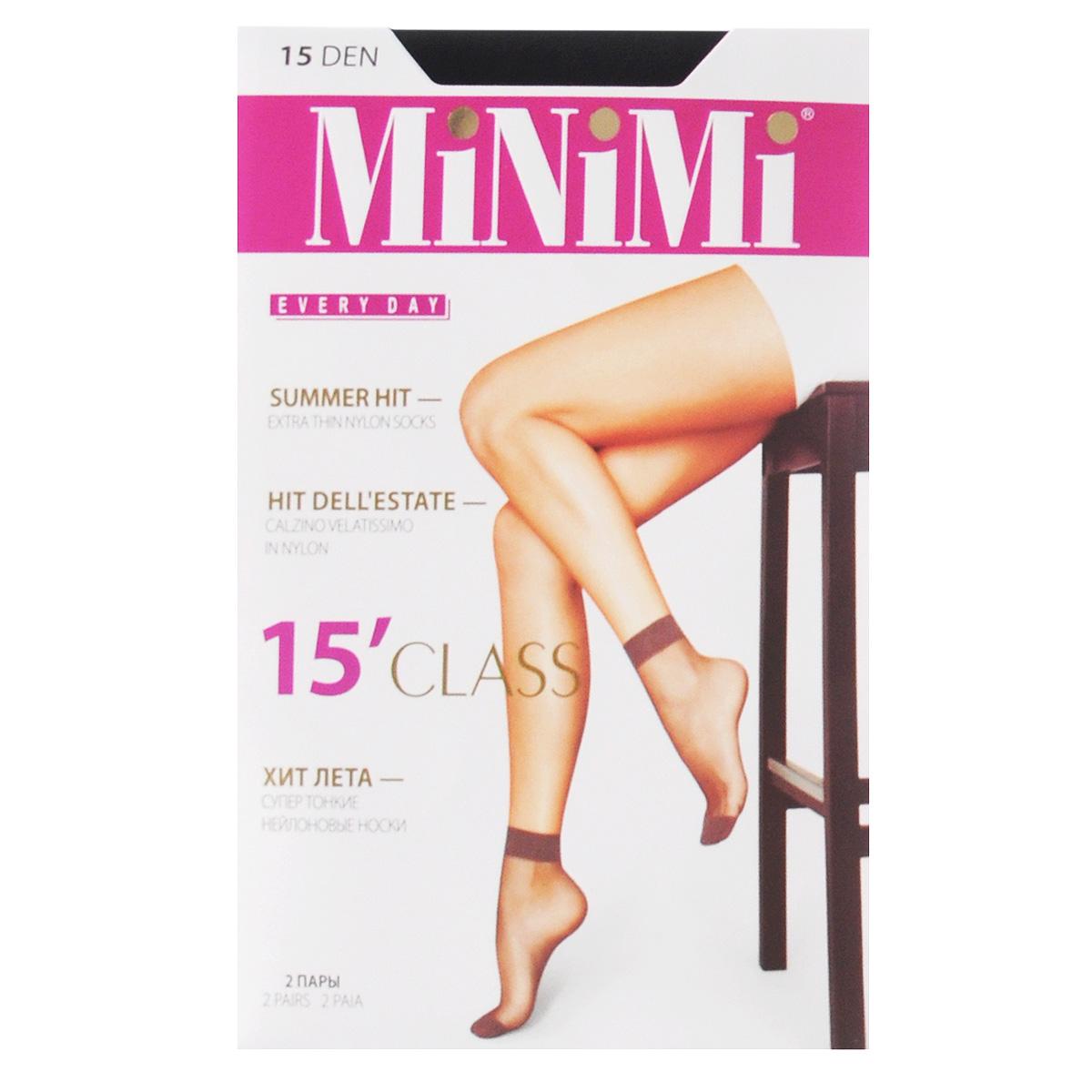 Носки женские Minimi Class 15, 2 пары, цвет: Nero (черный). Размер универсальный носки 2 пары 20 den intreccio цвет черный