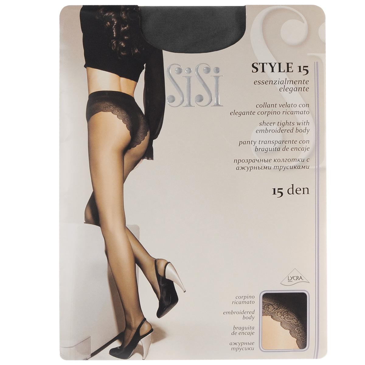 Колготки женские Sisi Style 15, цвет: Nero (черный). 45. Размер 2 (S)45SISIТонкие эластичные колготки Sisi Style с комфортными швами, гигиеничной ластовицей и невидимым мыском. Модель дополнена ажурными трусиками. Плотность: 15 den.
