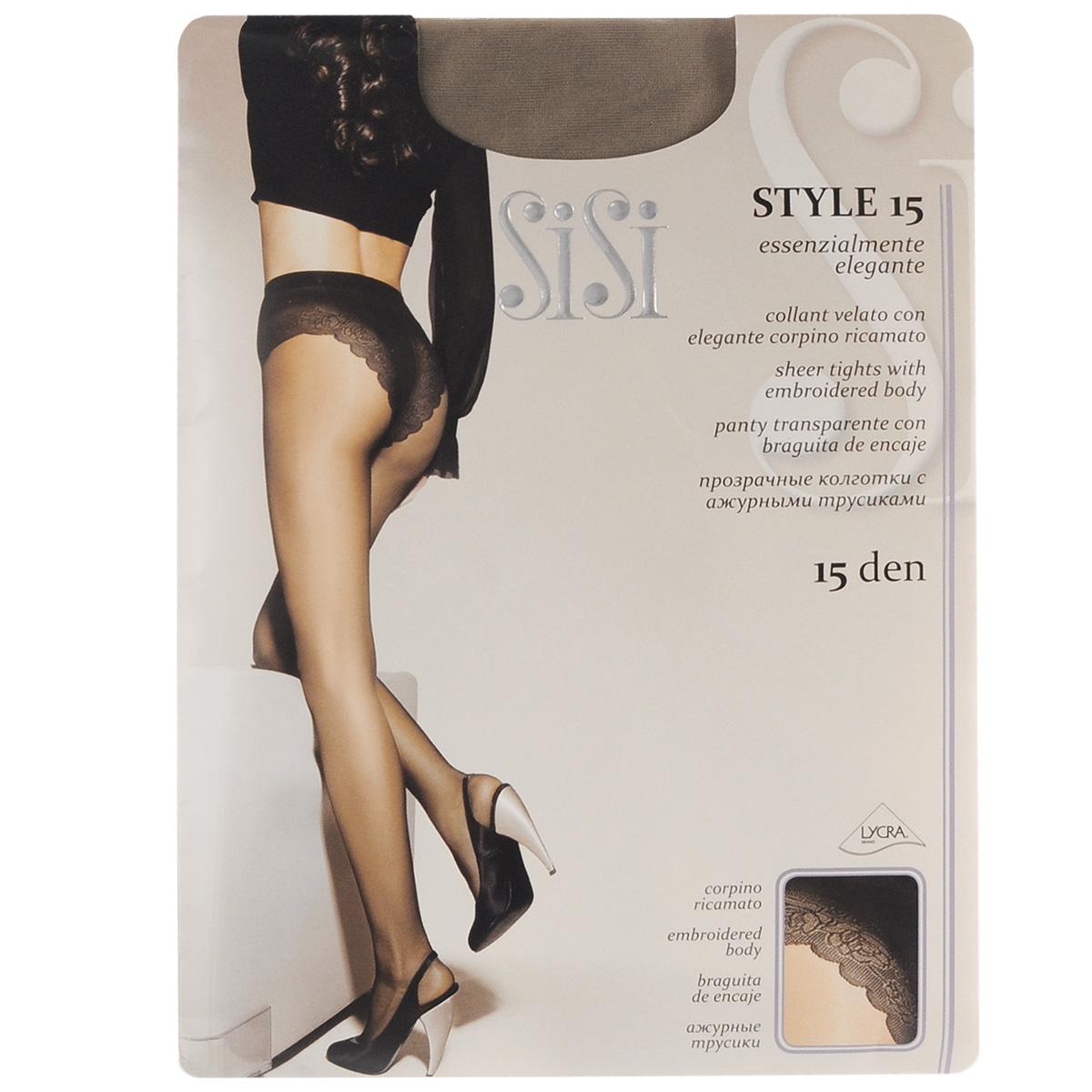 Колготки женские Sisi Style 15, цвет: Daino (бледно-коричневый). 45. Размер 2 (S)45SISIТонкие эластичные колготки Sisi Style с комфортными швами, гигиеничной ластовицей и невидимым мыском. Модель дополнена ажурными трусиками. Плотность: 15 den.