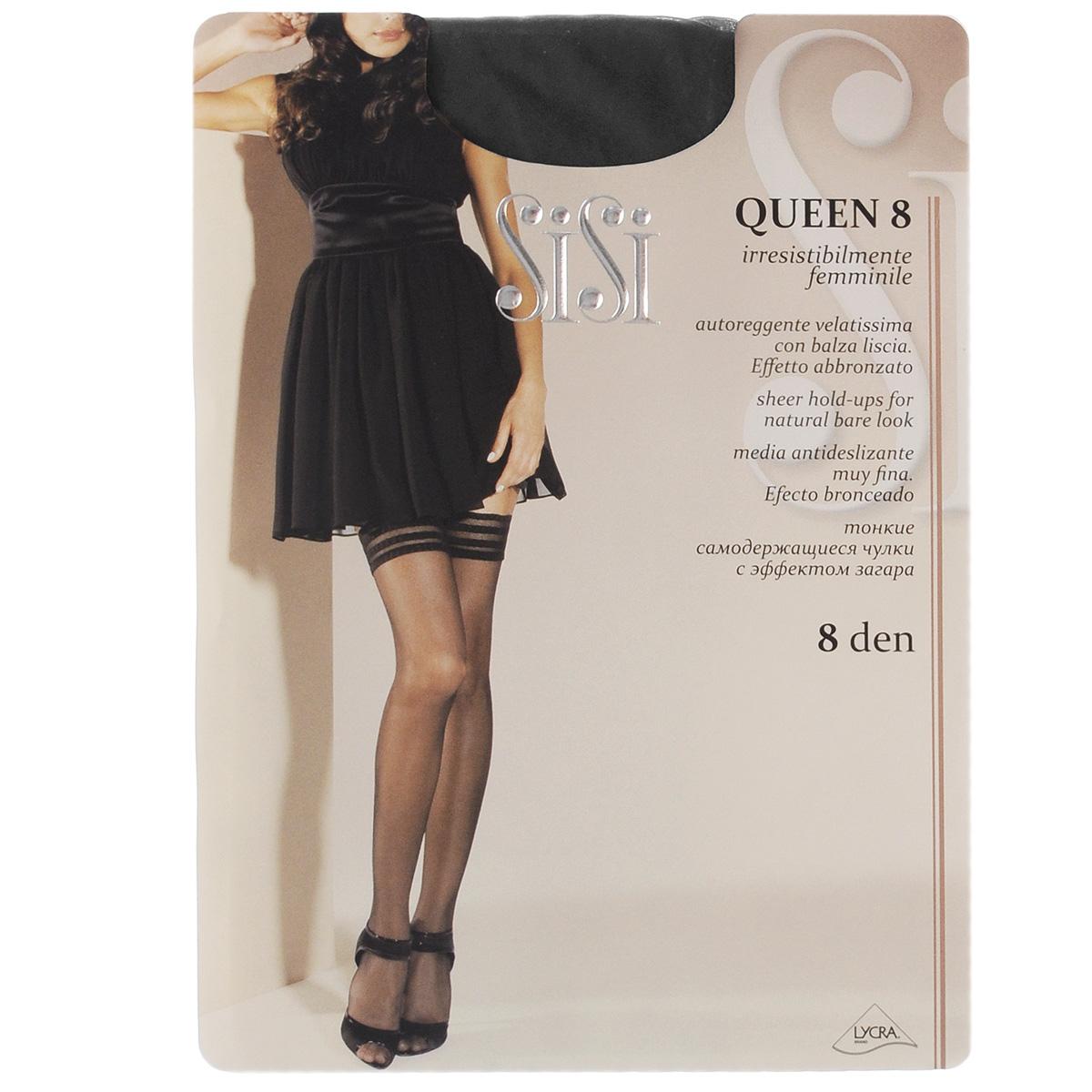 Чулки Sisi Queen 8, цвет: Nero (черный). 99. Размер 2 (S)99SISIТончайшие чулки Sisi Queen с сетчатой каймой, оформленной узором в полоску, и невидимым мыском. Фиксирующая резинка - на силиконовой основе. Плотность: 8 den.