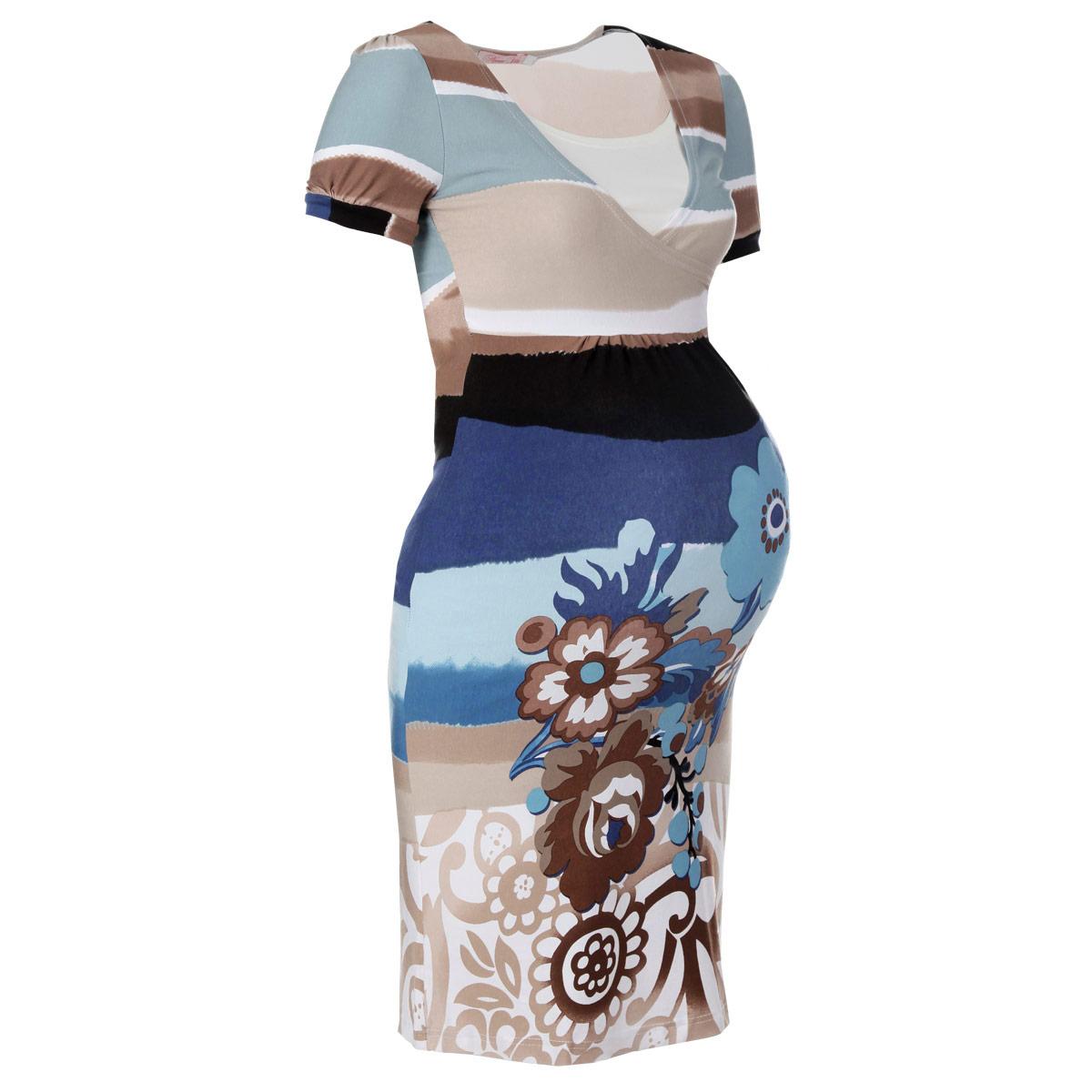 Платье для беременных и кормящих Nuova Vita, цвет: голубой, бежевый, белый. 2101. Размер 422101Стильное и удобное платье для будущих и кормящих мам Nuova Vita, изготовленное из эластичной вискозы, женственно и элегантно. Платье с короткими рукавами-фонариками и круглым вырезом горловины подчеркнет очарование будущей мамы, а секрет для кормления сделает его функциональной в период вскармливания ребенка. Секрет кормления выполнен в виде внутренней майки. Платье оформлено крупными цветочным узором и присборено под грудью. Это легкое и невероятно приятное на ощупь платье можно носить во время беременности и после родов, оно подарит вам удобство и комфорт, и подчеркнет ваше очарование в этот прекрасный период вашей жизни! Вискоза является волокном, произведенным из натурального материала - целлюлозы (древесины). Иногда ее называют древесный шелк. Эта ткань на ощупь мягкая и приятная, образует красивые складки. Материал очень хорошо впитывает влагу, не образует катышек со временем, не выцветает на солнце и обладает приятным шелковистым блеском.