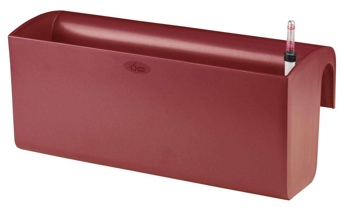 Ящик балконный Green Apple, с системой автополива, цвет: красный, 50 х 20 х 22 см ящик балконный santino 60 х 19 х 15 см