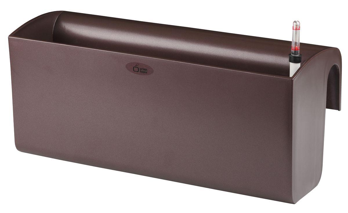 Ящик балконный Green Apple, с системой автополива, цвет: венге, 50 х 20 х 22 см ящик балконный bama paglia normal с дренажной системой цвет антрацит 40 х 20 х 17 5 см